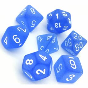 Blue & White Frosted Polyhedral 7 Dice Set